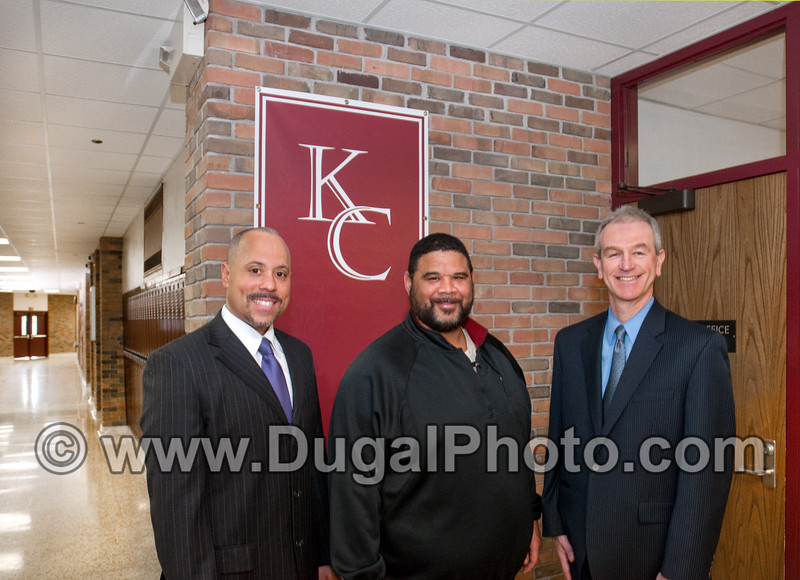Portraits for Jim Hess,  Jaqua Realtors marketing brochure.  Pictured in Kalamazoo Central High School are Principal Von Washington, football coach Dana Chambers, and Realtor Jim Hess.  Copyright Anthony Dugal Photography, Kalamazoo, Michigan, USA, (269) 349-6428.