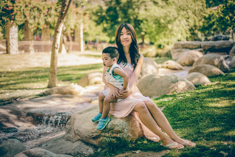 Sandy Chen and her son