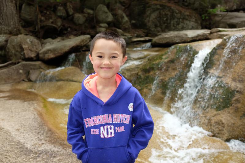 Justin posing at Diana's Baths, Whitemountains, NH