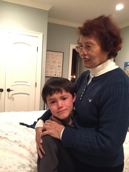 Saying goodbye to grandma.