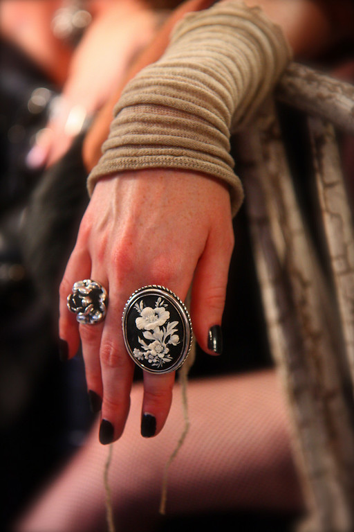 Close-up of Frankie's rings.