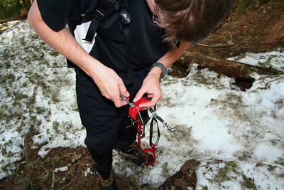 Steve preparing the crampons for the climb