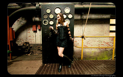 We went to Sloss Furnace and got some great goth shots of Angela posing in her black miniskirt, corset, rubber boots, and arm bands.