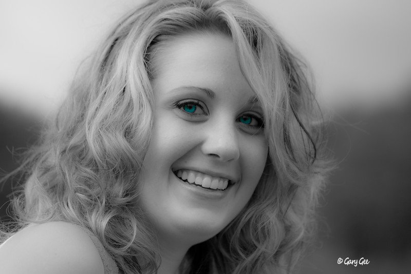 Softened Black & White with Enhanced Deep Blue Eyes Added