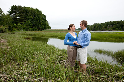Engagement photo of Hattie Landry and Andrew Freye photographed on June 23rd 2011 at Spear farm Estuary Preserve in Yarmouth, Maine.  Photograph taken by Portland, Maine based photographer Jeff Scher.