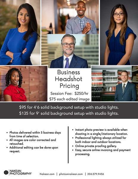 Business Headshot Pricing
