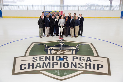 Executive board of the Senior PGA gather with the City Commision at the Howard Ice Arena in Saint Joseph Michigan.