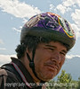 Man with a neat bike helmet; best viewed in the largest sizes