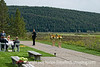 A photographer waits for a wedding at the Grand Teton Lodge in Grand Teton National Park to get underway.