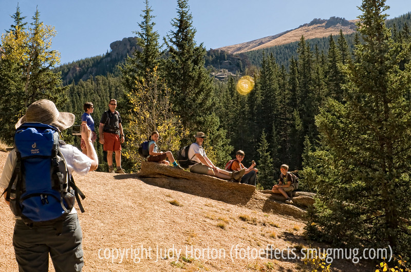 Most of our crew taking a break on the hike up to the Crags in Colorado.
