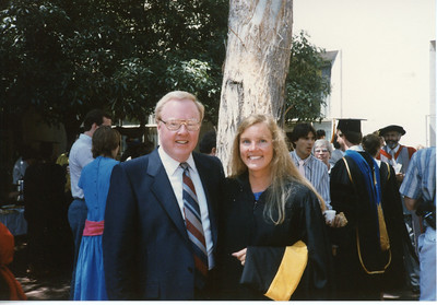 Jack Cherry at daughter Dana's graduation from UC Berkeley, with Master's degree, May 1986