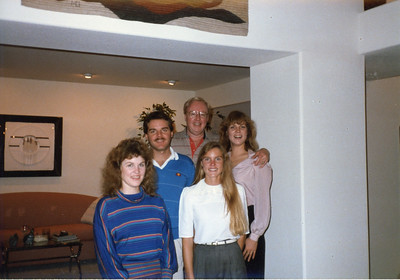 Jack with his children, Kevin, Brenda, Janet and Dana. Christmas Eve1985