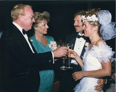 Jack & Karyn toasting the newlyweds, his daughter Dana and Tracy 5/02/1987