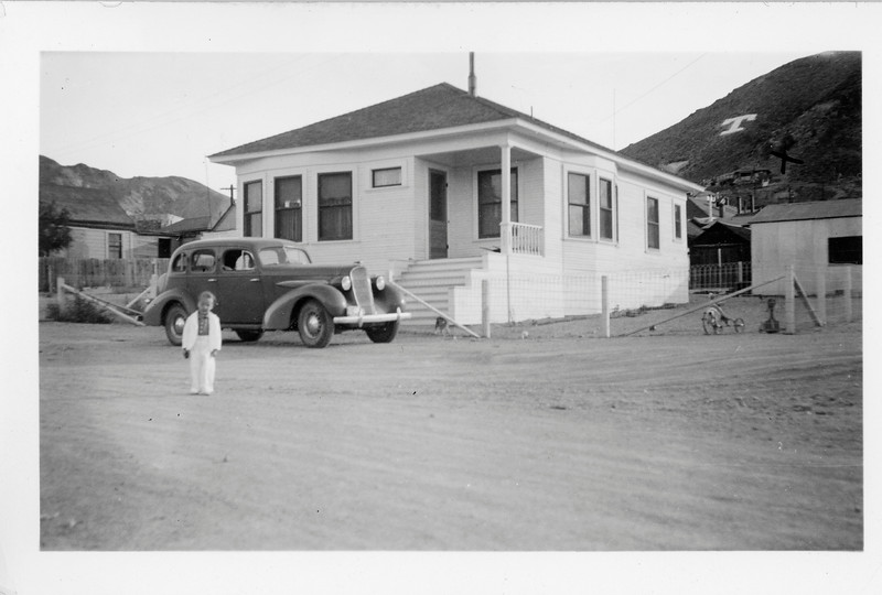 """""""T"""" is for Tonapah, and X mark's aunt Betty's house.  Young Jackie Cherry in the mining town where his father, Doctor Cherry worked."""