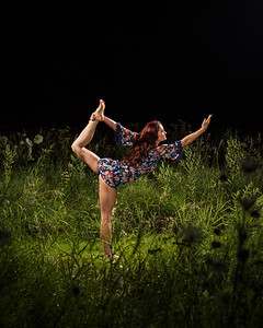 Yoga on the Prairie at Night