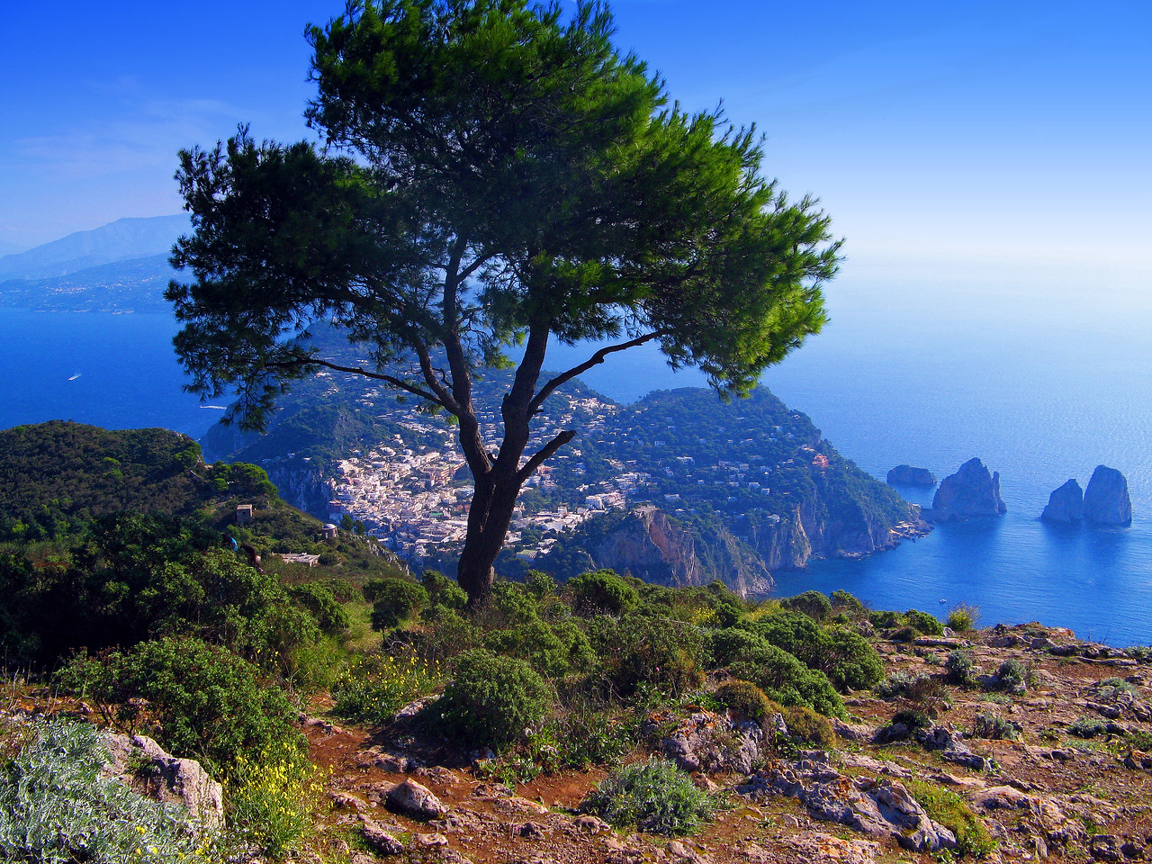 Italy--a view from the top of Capri Island
