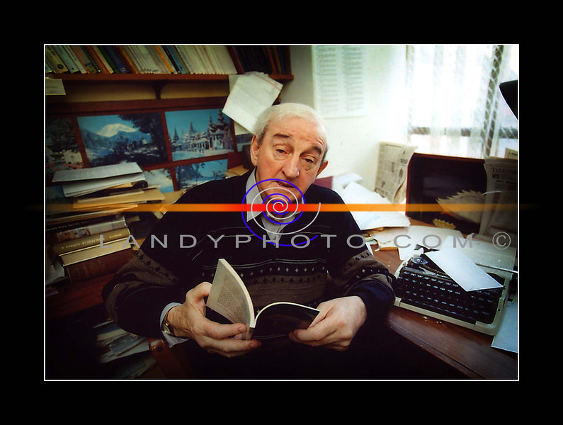 John B Keane, in his study where many of his greatest creations  were developed.<br /> Copyright Brendan Landy Photography Listowel<br /> Phone 068 21750
