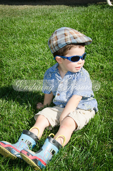 Too cool in his Thomas the Train boots