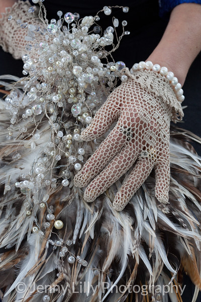 Beaded wedding bouquet in contemporary style