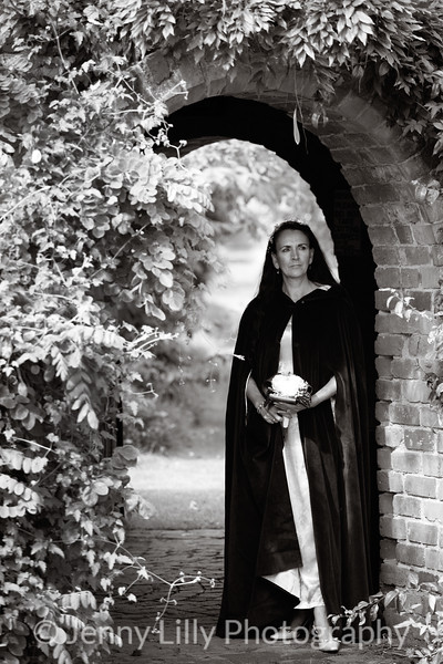 Gothic birde-of-Christ in spooky setting in monochrome
