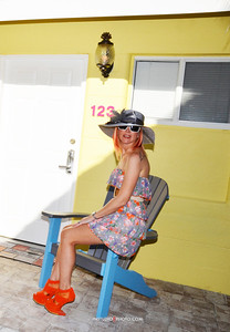 Princess Jenah Victor modeling for Siesta Key Beachside Villas