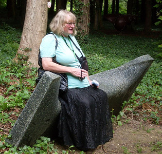 14 - Sitting on an interestingly designed seat in the Cass Sculpture Foundation in July 2011. This photo was taken by my partner, Stephen, and I wasn't aware of it at the time. The effect of the receding hairline which I managed to stop before it got too severe can be seen here.