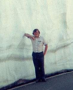 """03 - Some other 17 year old bloke standing by a lot of snow in Switzerland in 1981 - the snow was at least 12 feet deep, and it was the middle of June. """"Some other bloke"""" is how I refer to my old self as I prefer not to use my old name."""