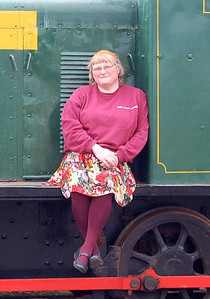 """25 - I had another go on 5th June with more success, the wind being a lot lighter than the previous day. Too much leg on show: thankfully they are covered by tights in the nearest colour I could find to the Eden Valley Railway's """"corporate"""" colour."""