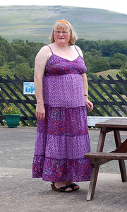 30 - A full length shot of me in my latest tent. Having seen myself in both of my new dresses I have to say I prefer the other one as it makes me look less fat. I am fat, of course, and currently trying to lose weight.