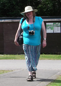 37 - Another shot by my other half, as I walked towards him. I could get to like my sunhat. It definitely keeps the sun off my head, and even my large nose!