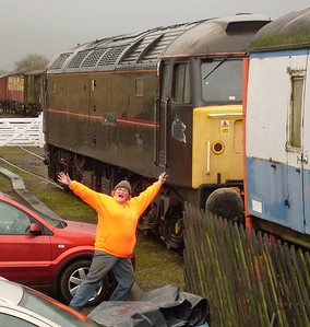 18 - Madannie making a fool of herself in front of Prince Henry at Warcop Station on 24th December 2011. Photo by my other half.