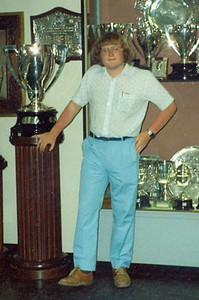 04 - Some other bloke at the age of 19 in the trophy room at the Bernabeu Stadium.