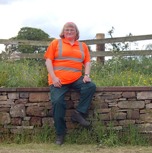 24 - As the Warcop Station garden is across the tracks I have to don safety boots and hi-vis. Here I am on 4th June 2012, wearing one of my other half's hi-vis shirts, a little tight for me, which I had picked up in error.