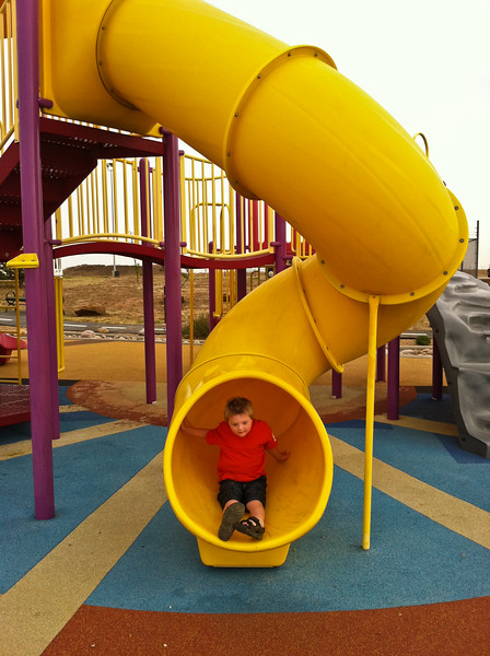The slide at the Route 66 themed rest area in Texas