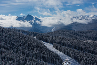 The Sawatch range towers over a view of Game Creek Bowl in Vail on Friday.