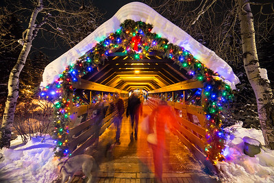 A long exposure of bridge street shows a bustle of people roaving Vail Villiage on Tuesday Night. Bridge Street is expected to be quite the spectacle on New Year's Eve.
