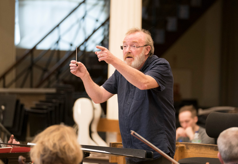 Martyn Brabbins Musical Director rehearsing with English National Opera Orchestra at the Henry Wood Hall, London, UK