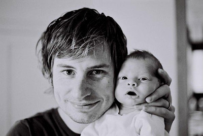 Self-portrait: me with recently-born son Herbie in 2004.