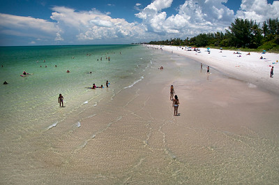 Naples beach view from the pier, crystal clear water
