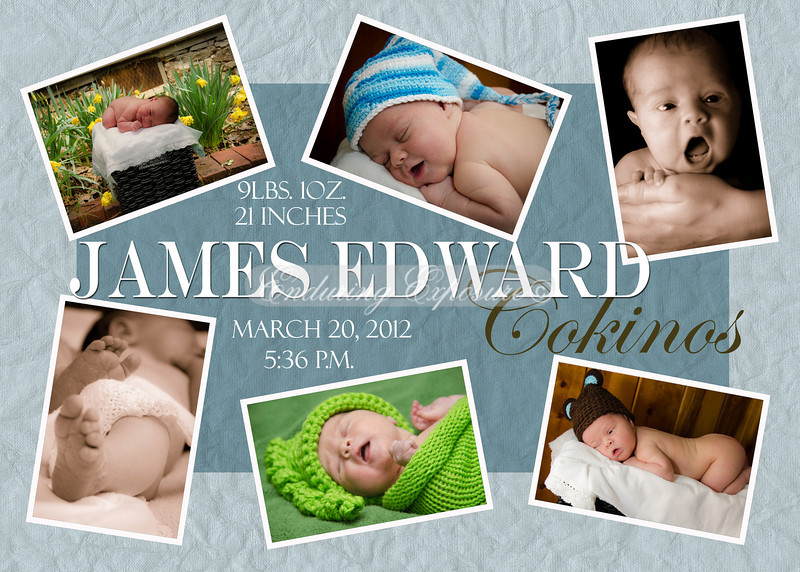Birth Announcements, Sample 1: Blues, with six photos