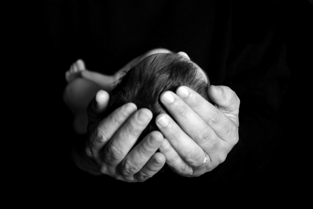 Fathers Hands, b&w