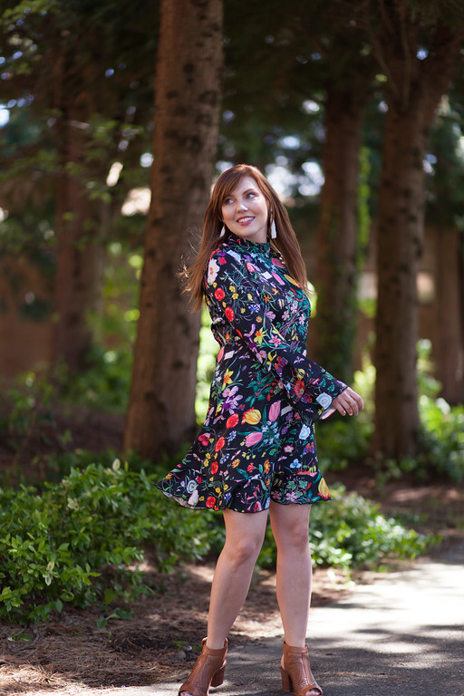 floral dress with ruffles and bell sleeves - top dress trends for spring and summer 2017
