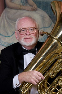 Randy Harrison, tuba --Homewood Brass Quintet, shown at Shriver Hall on the Homewood campus, The Johns Hopkins University