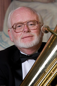 Randy Harrison, tuba -- Homewood Brass Quintet, shown at Shriver Hall on the Homewood campus, The Johns Hopkins University