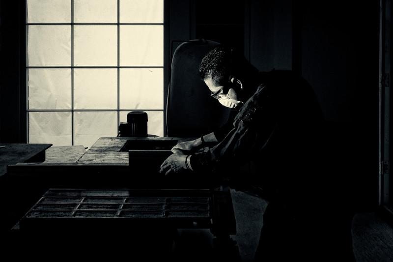 finish carpenter in his shop