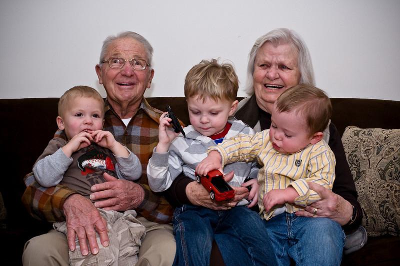 Great-Grandma, Great-Grandpa and the kids. - Dec 2008