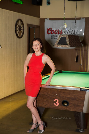 Patricia Red Dress pool table Jus_N9A2389