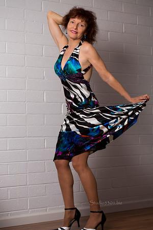 Patricia  blue pattern dress 589D duane