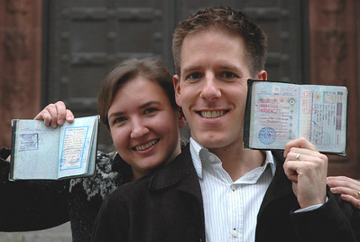 Audrey and Dan (showing off their cool visas from Myanmar and Turkmenistan, respectively)