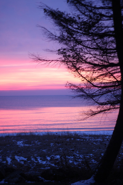 View from the beachouse at sunrise in the winter.